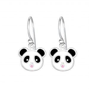 Zilveren panda oorbel