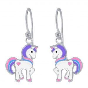 Zilveren oorbel unicorn roze/blauw/paars