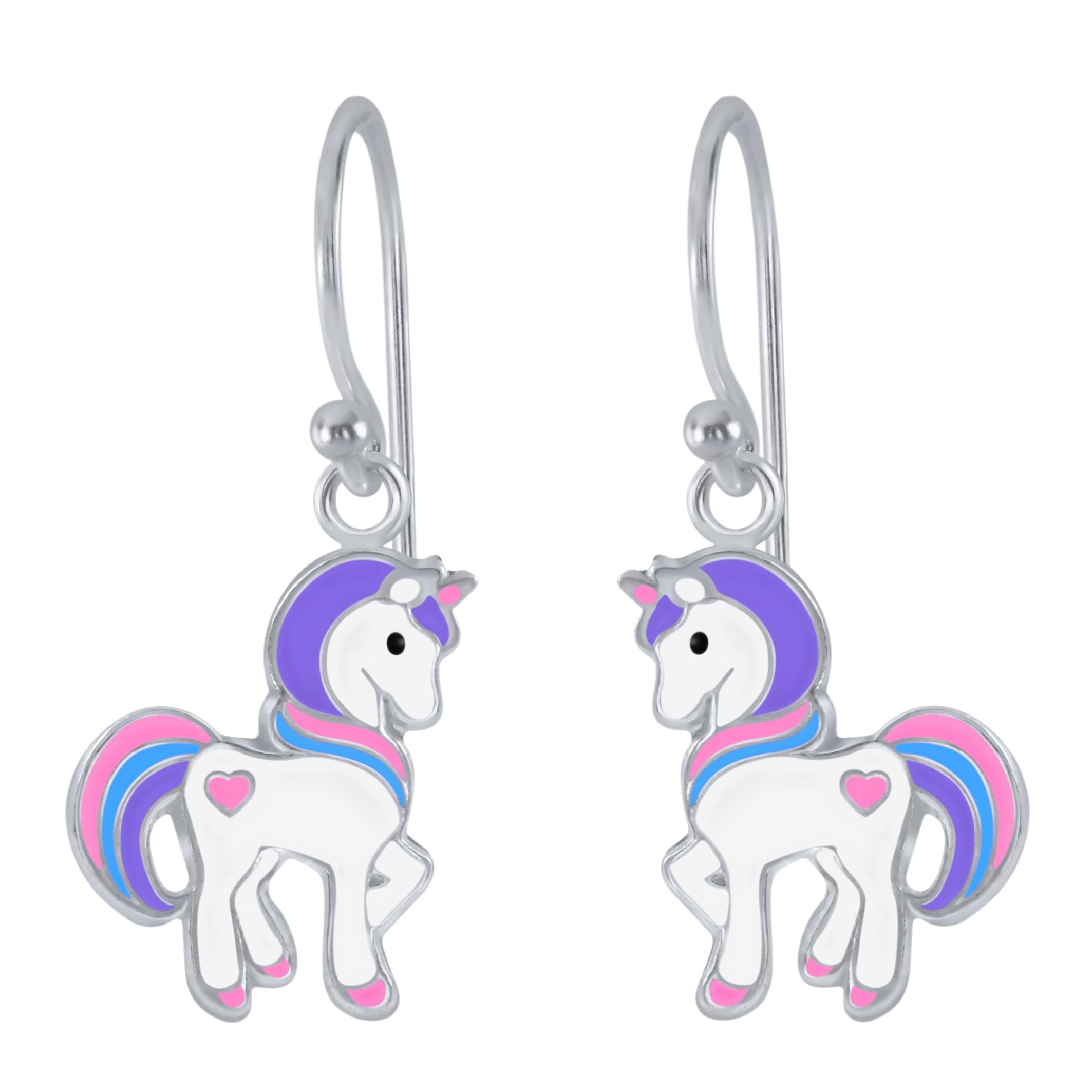 Zilveren oorhangers met eenhoorn, roze, blauw en paars