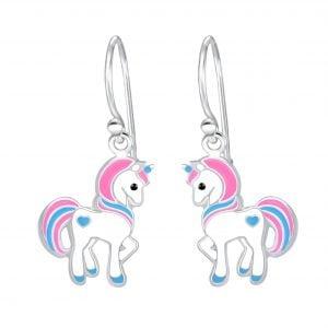 Zilveren oorbel unicorn roze/blauw