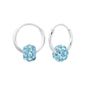 Zilveren oorbel kristal aqua