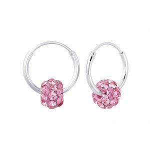 Zilveren oorbel roze kristal