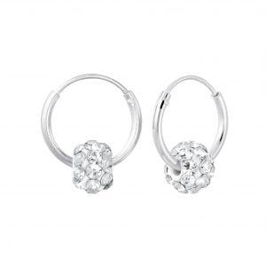 Zilveren oorbel wit kristal