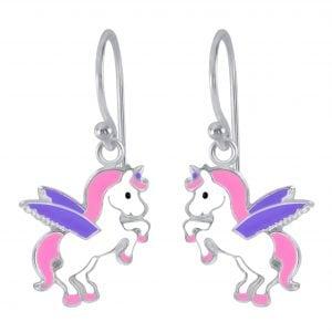Zilveren oorbel unicorn roze/paars