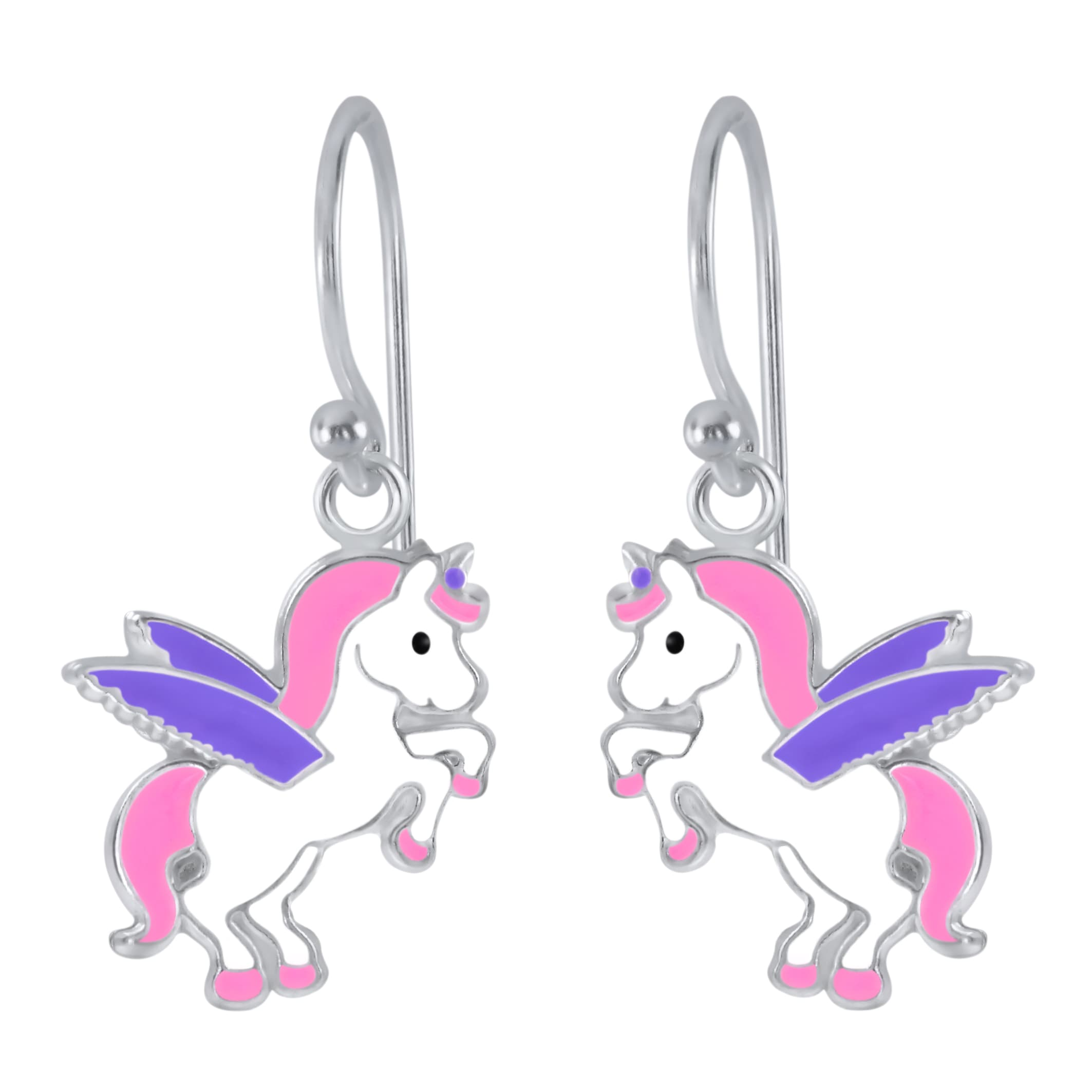 Zilveren oorhangers, eenhoorn met paarse vleugels