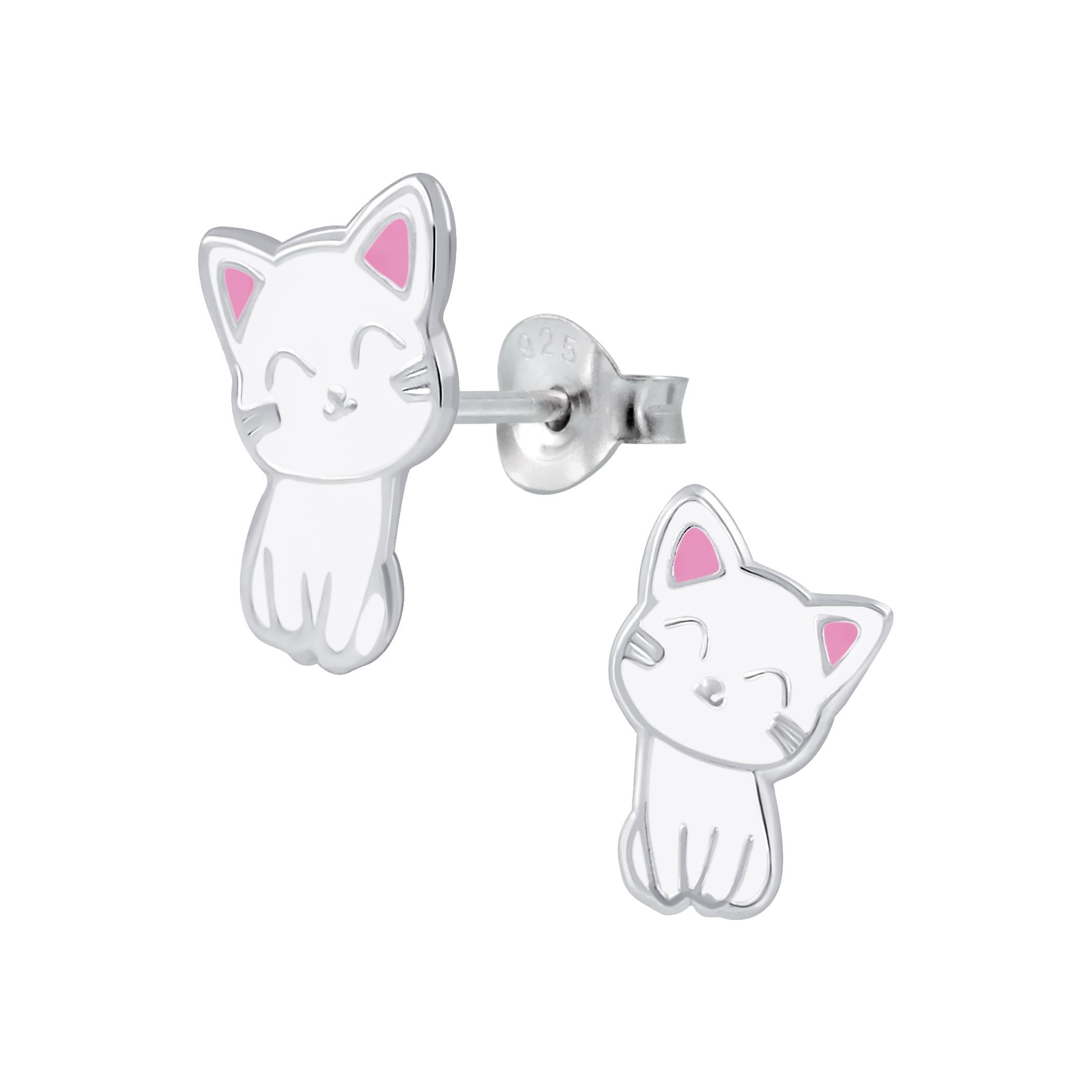 Schattige zilveren kitten oorbel