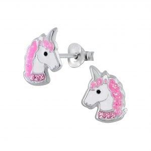 Zilveren unicorn oorsteker met roze en licht roze steentjes
