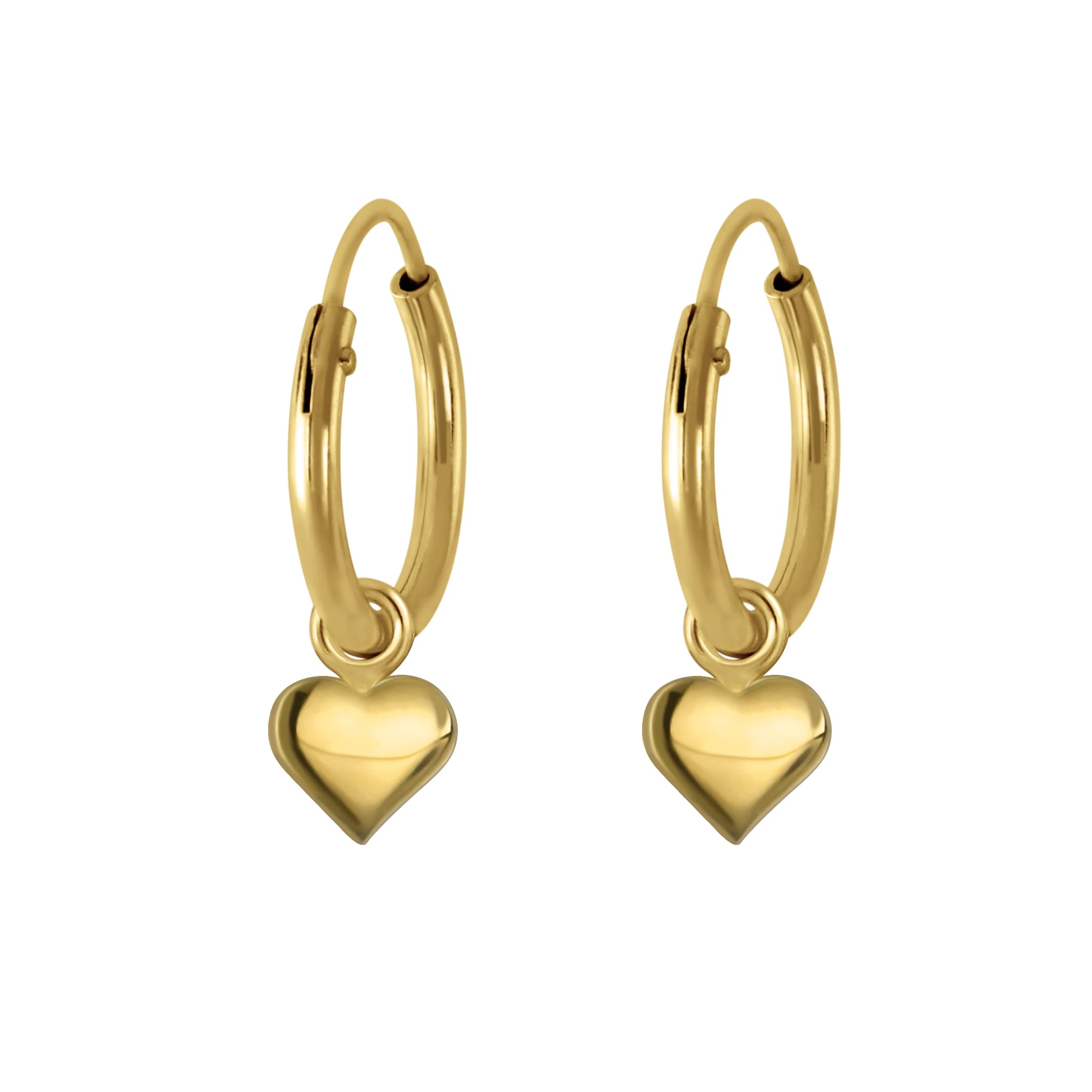 Gold plated oorbel hart