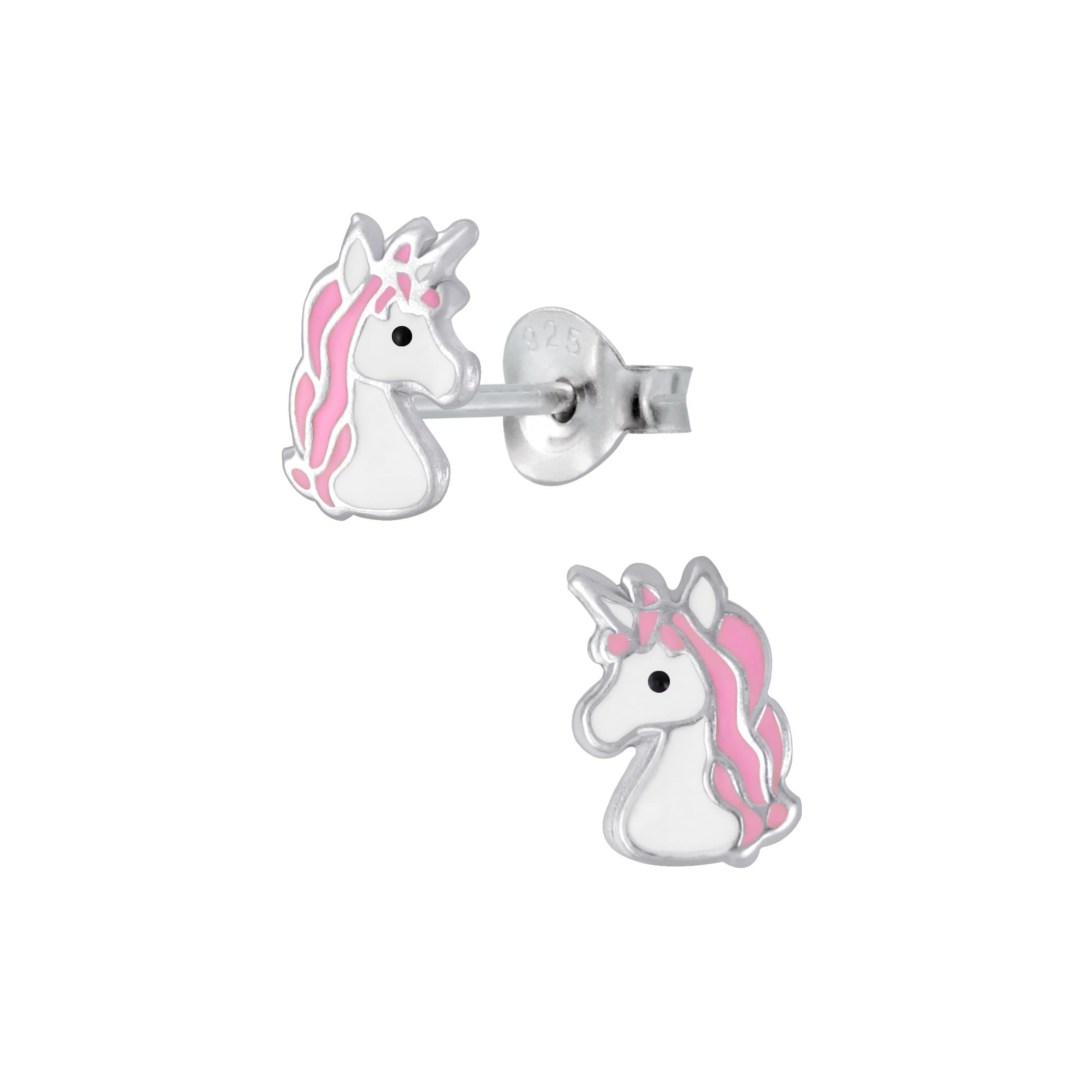 Zilveren oorstekers, eenhoorn hoofd met wilde, roze manen