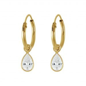 Gold plated oorbel wit steentje