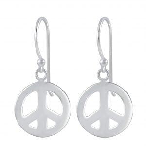 Zilveren oorbel peace teken