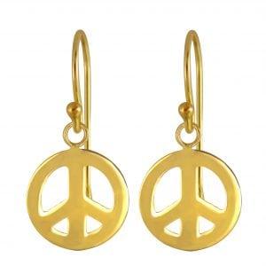 Gold plated oorbel peace teken