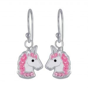 Zilveren/roze oorbel unicorn