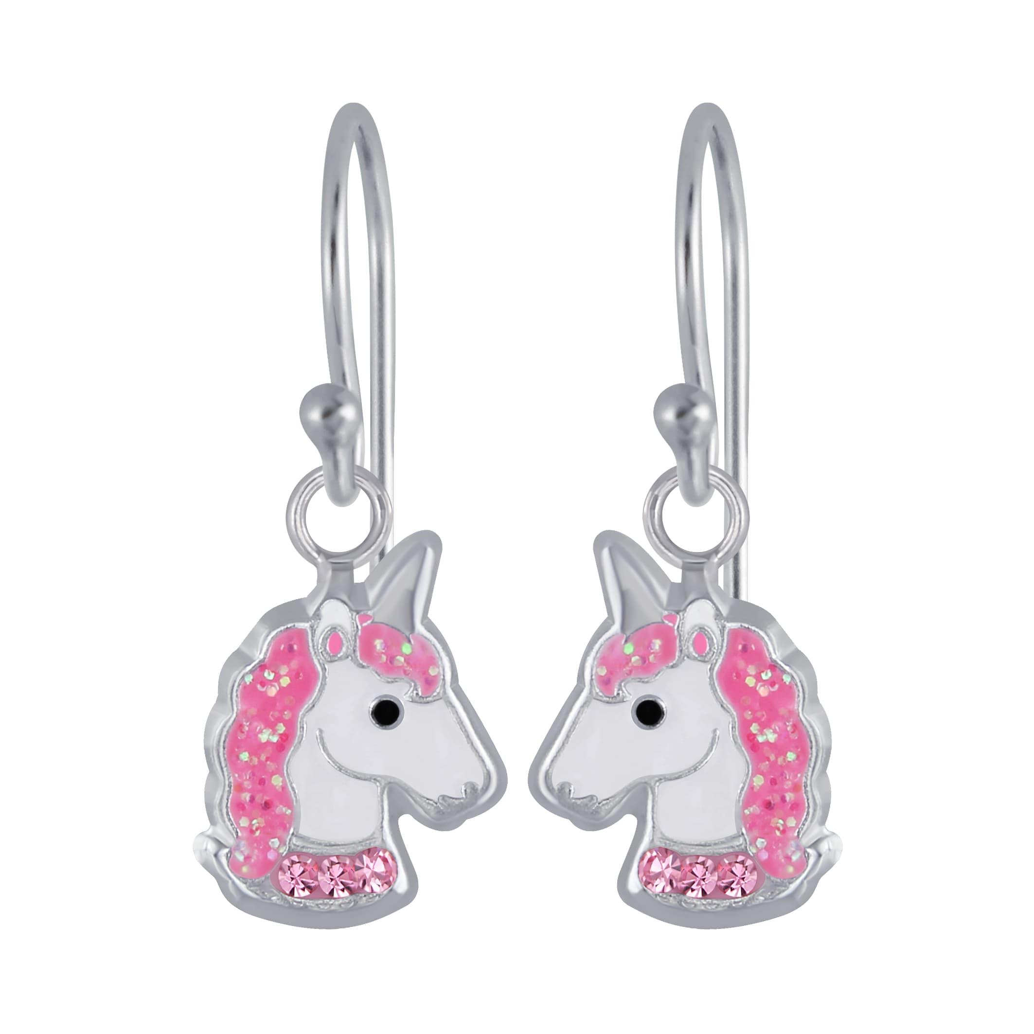 Oorhangers, eenhoornhoofd met roze halsband