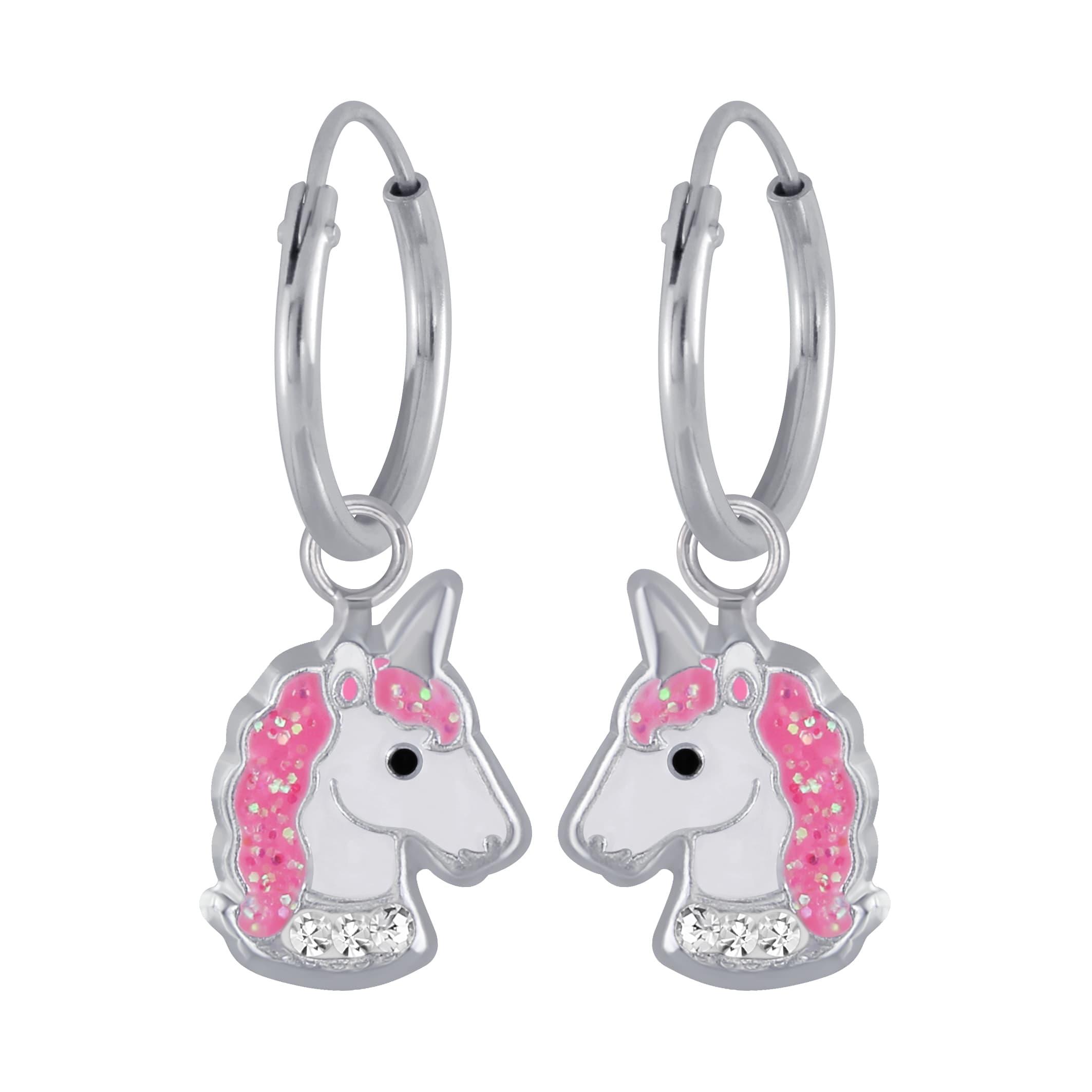Zilveren unicorn oorbel met roze en kristal kleurige steentjes