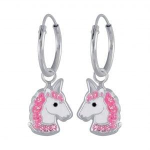 Zilveren unicorn oorbel met roze kleurige steentjes