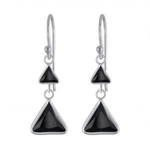 Zilveren oorbel langwerpig driehoekjes zwart