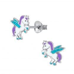 Zilveren vliegende unicorn oorsteker met paars en aqua glitters