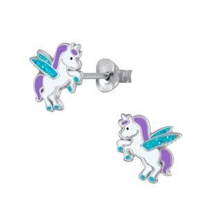 Zilveren oorstekers, eenhoorn met aqua vleugels