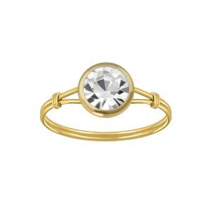 Gold plated ring met witte kristal