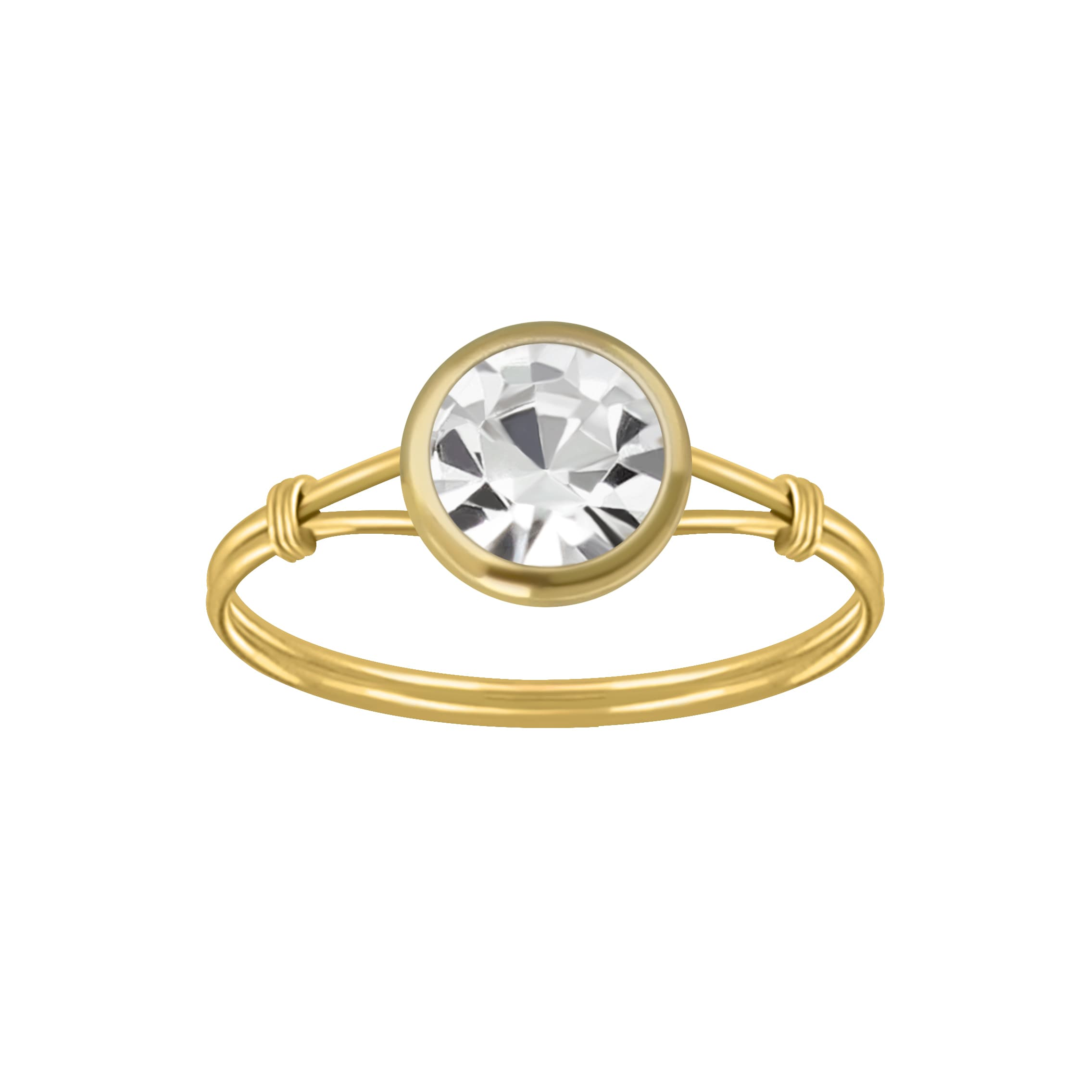 Gold plated ring met kleurloze kristal