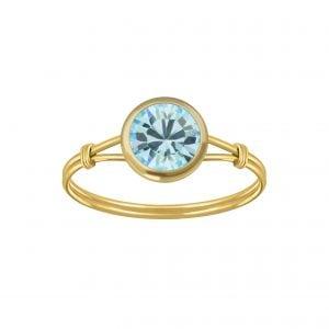 Gold plated ring met aqua kristal