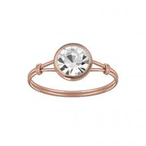 Zilveren rose ring met wit kleurig kristal