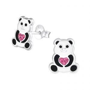 Zilveren oorstekers, panda met roze hart