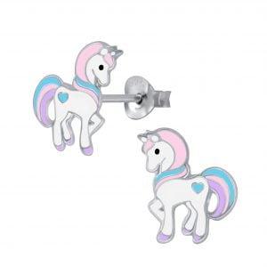 Zilveren unicorn oorsteker met licht roze, aqua en lila