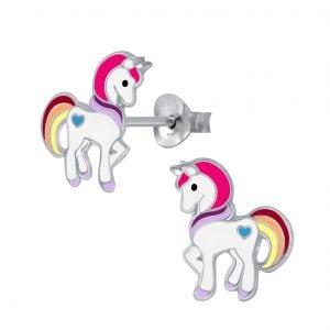Zilveren unicorn oorsteker met regenboog kleuren