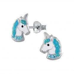 Zilveren unicorn oorsteker met aqua en licht aqua steentjes