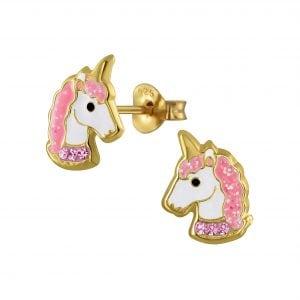 Gold plated unicorn oorsteker met roze en licht roze steentjes