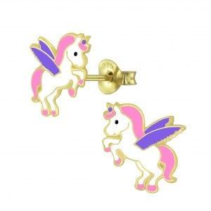 Gold plated zilveren vliegende unicorn oorsteker met roze en paars