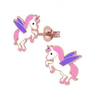 Zilveren rose vliegende unicorn oorsteker met roze en paars