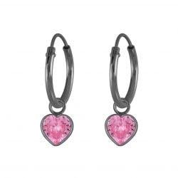 Zilveren hoop met roze hartje