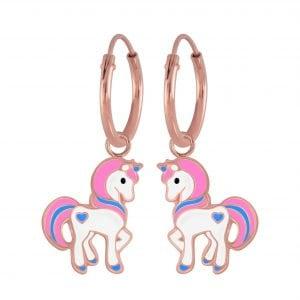 Zilveren rose unicorn oorbel met roze en blauwe kleurtjes en een blauw hartje