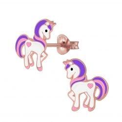 Zilveren rose unicorn oorsteker met paars en roze