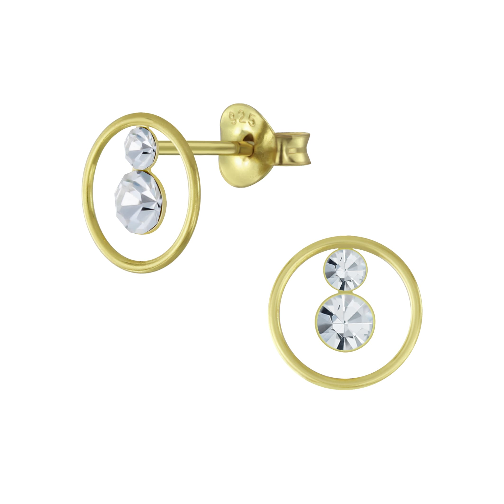 Gold plated oorsteker kristal