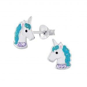 zilveren unicorn oorbel met steentjes in een blauw en paarse kleur