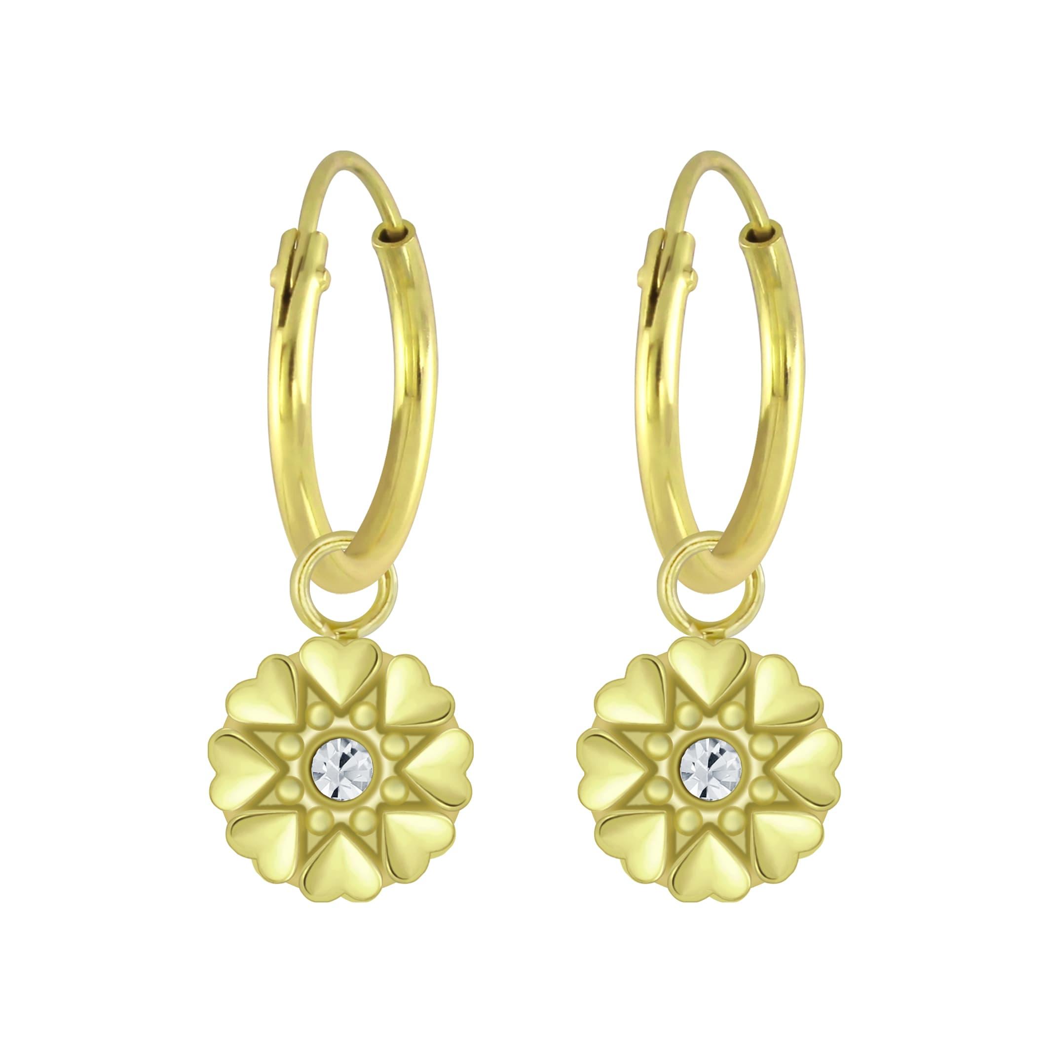 Gold plated ronde hartjes bloem