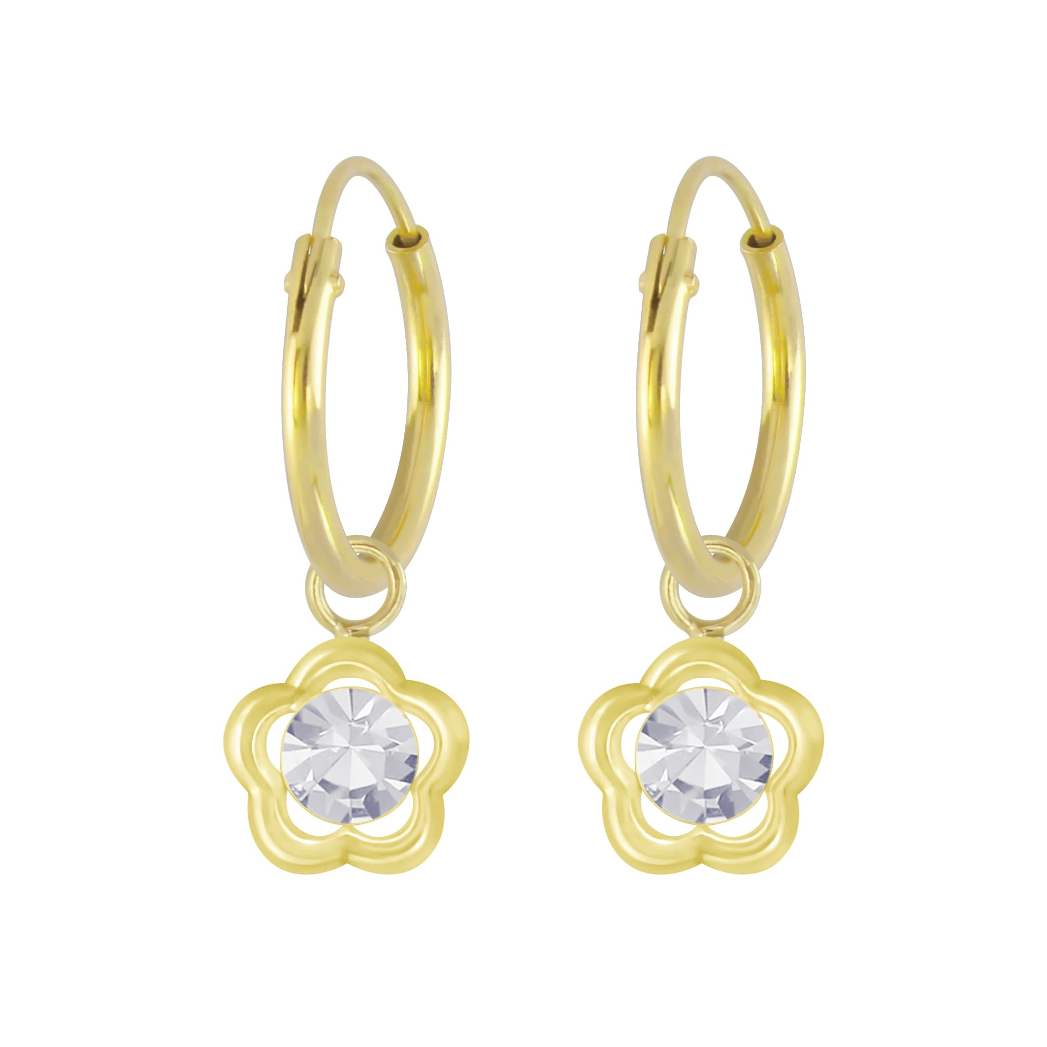 Gold plated oorbel bloem kristal