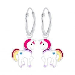Zilveren unicorn oorbel met verschillende kleurtjes