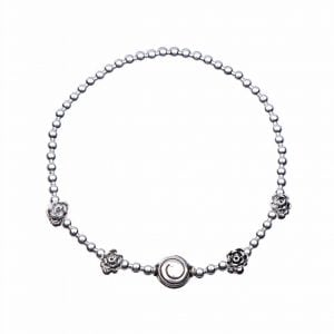 Zilveren armband met bloemetjes