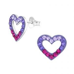 Zilveren oorsteker in hart vorm met vershillende kleuren kristallen