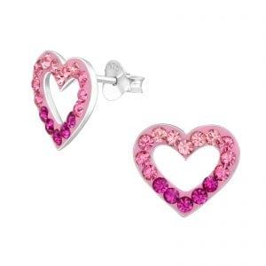 Oorstekers in een hartje met donker en lichtpaarse kristallen