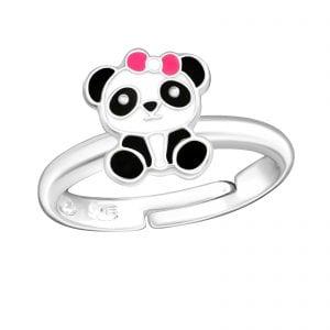 Zilveren panda ring met rose srtikje (verstelbaar)
