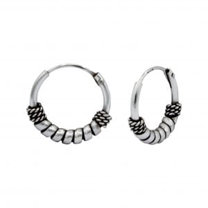 12mm Silver Bali Hoops