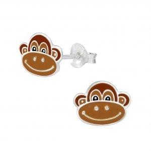 Silver Monkey Stud Earrings