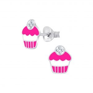 Silver Cupcake Stud Earrings