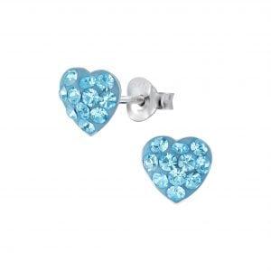 Silver Heart Stud Earrings - Aqua Bohemica